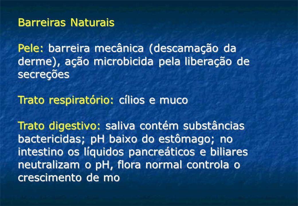 Barreiras Naturais Pele: barreira mecânica (descamação da. derme), ação microbicida pela liberação de.