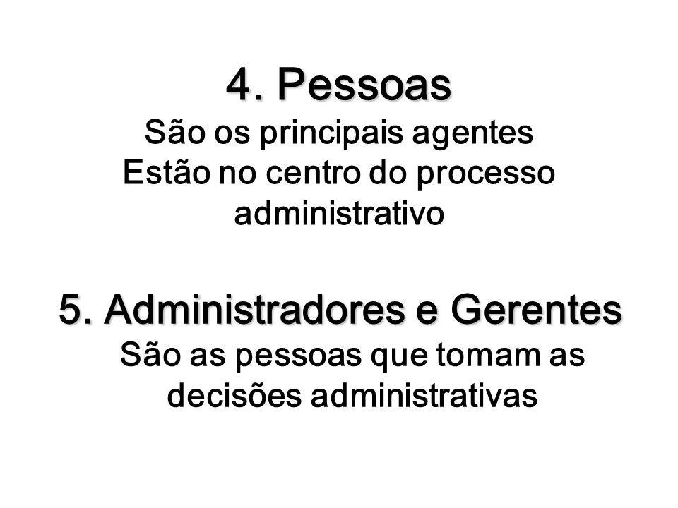 4. Pessoas São os principais agentes Estão no centro do processo administrativo