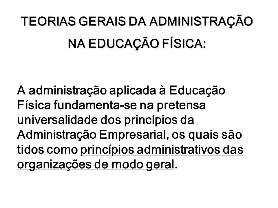 TEORIAS GERAIS DA ADMINISTRAÇÃO