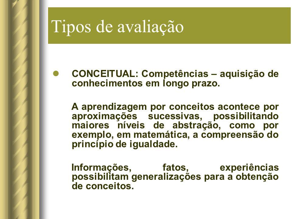 Tipos de avaliação CONCEITUAL: Competências – aquisição de conhecimentos em longo prazo.