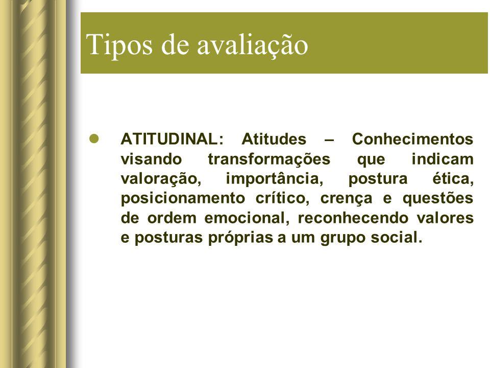 Tipos de avaliação