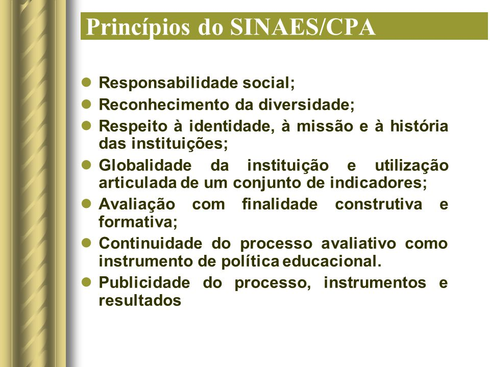 Princípios do SINAES/CPA