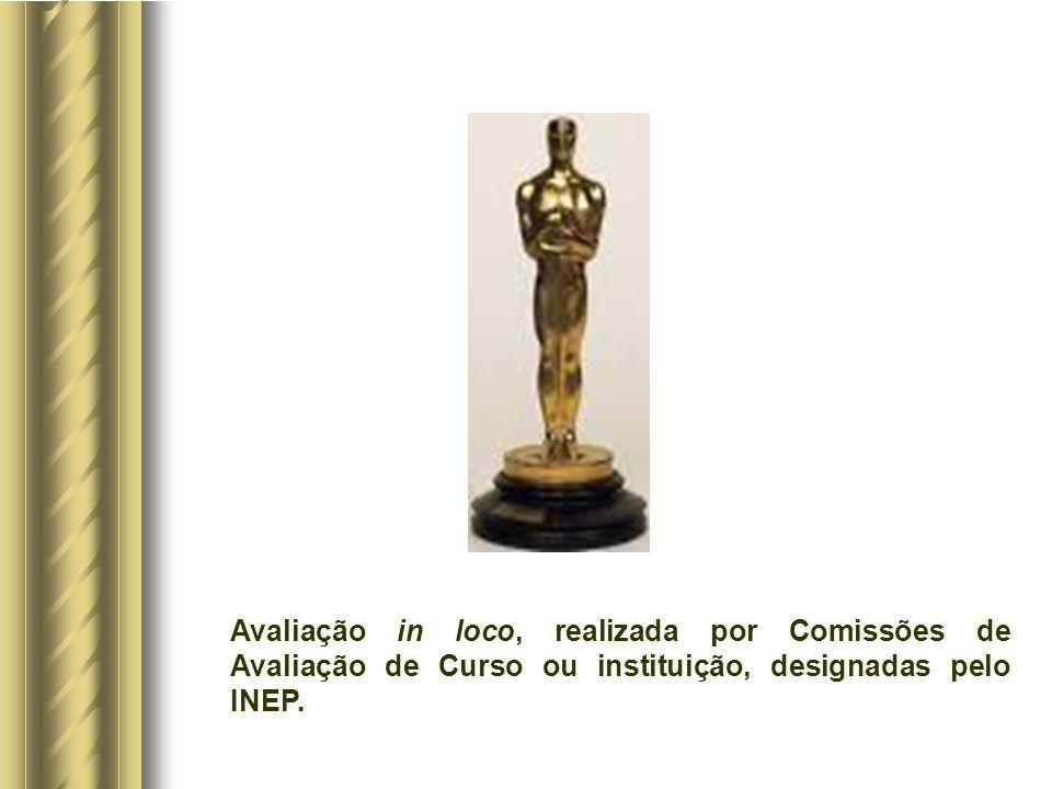 Avaliação in loco, realizada por Comissões de Avaliação de Curso ou instituição, designadas pelo INEP.