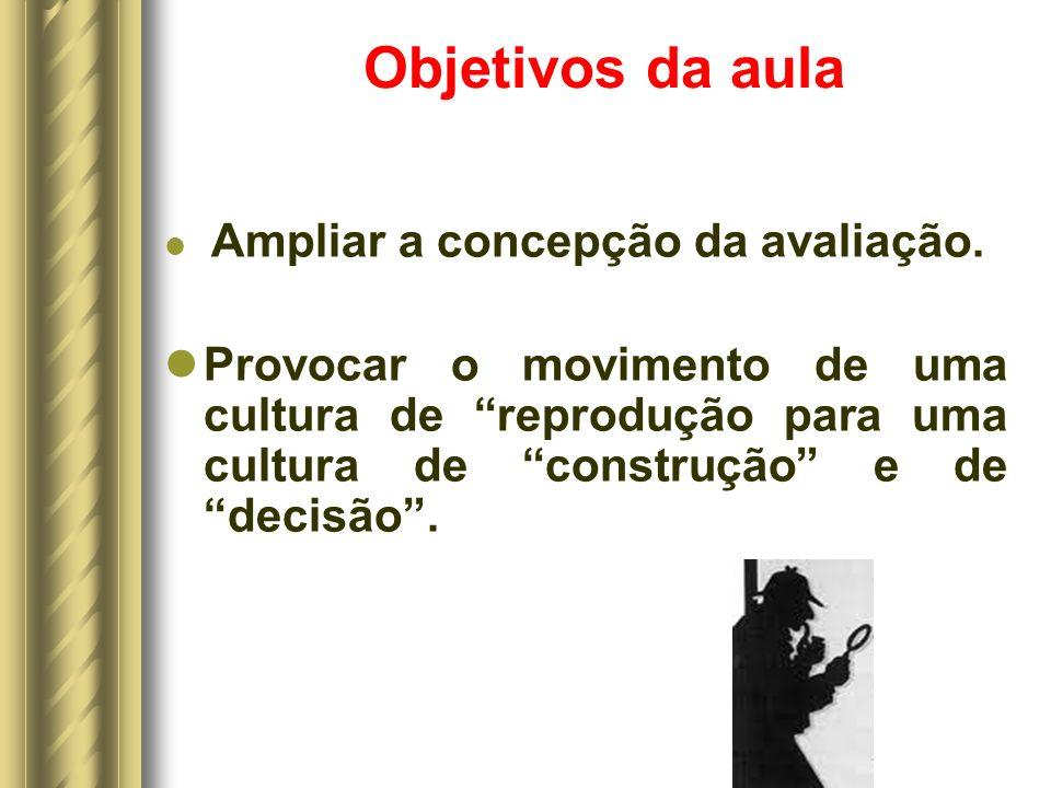 Objetivos da aula Ampliar a concepção da avaliação.