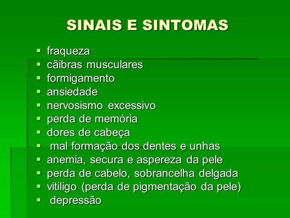 SINAIS E SINTOMAS fraqueza cãibras musculares formigamento ansiedade