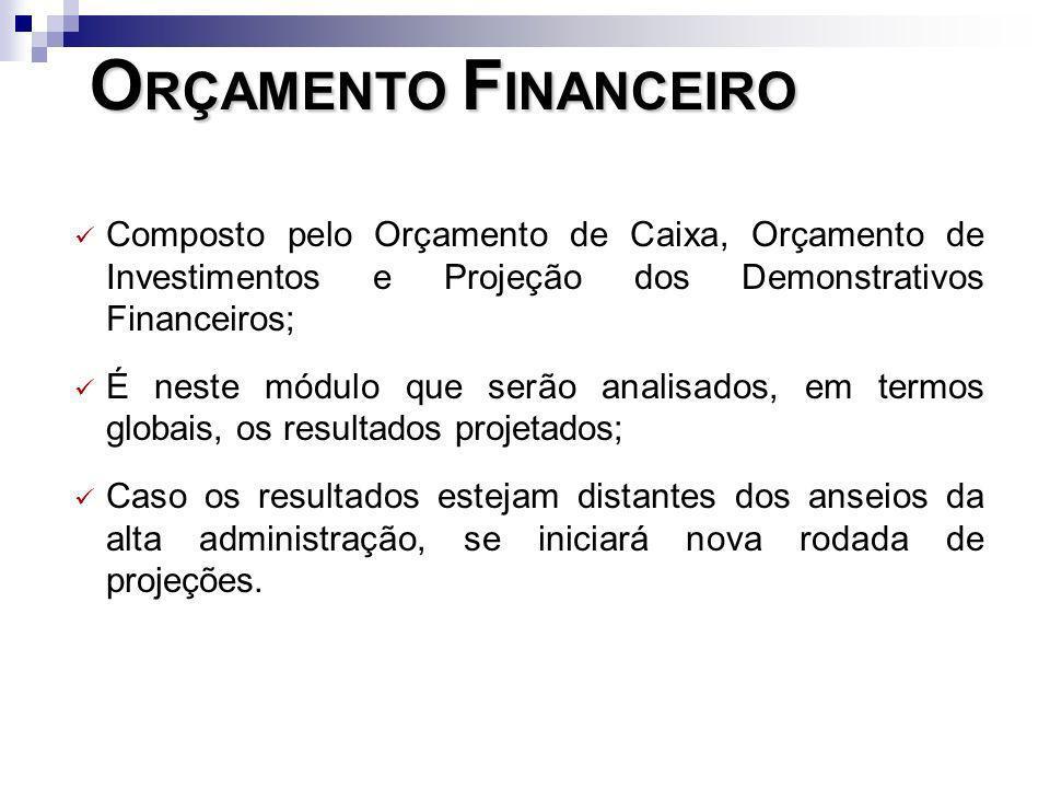 ORÇAMENTO FINANCEIROComposto pelo Orçamento de Caixa, Orçamento de Investimentos e Projeção dos Demonstrativos Financeiros;