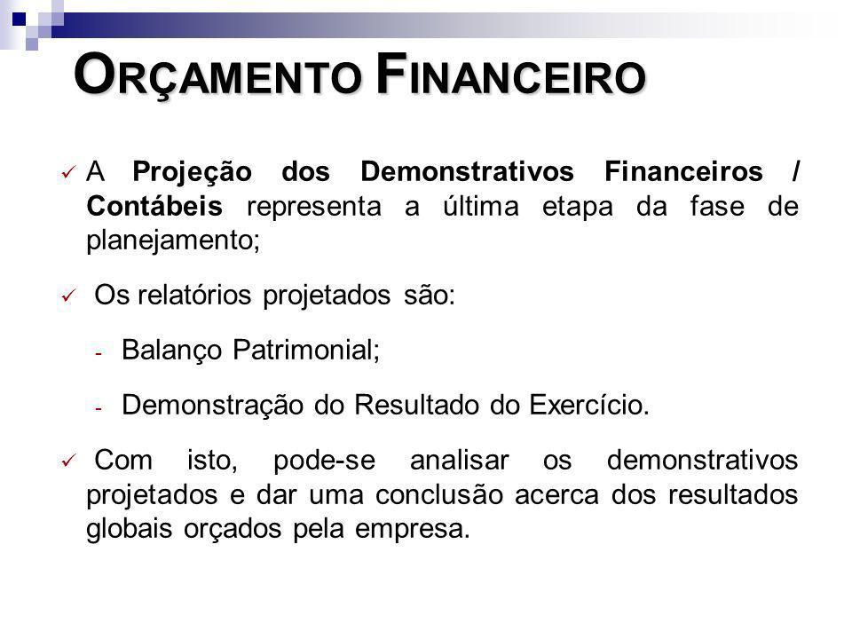 ORÇAMENTO FINANCEIRO A Projeção dos Demonstrativos Financeiros / Contábeis representa a última etapa da fase de planejamento;