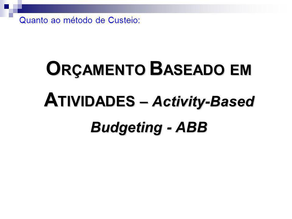 ORÇAMENTO BASEADO EM ATIVIDADES – Activity-Based Budgeting - ABB