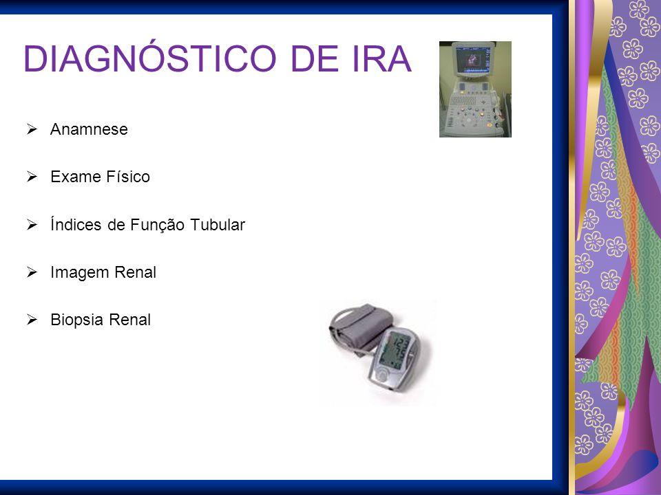 DIAGNÓSTICO DE IRA Anamnese Exame Físico Índices de Função Tubular