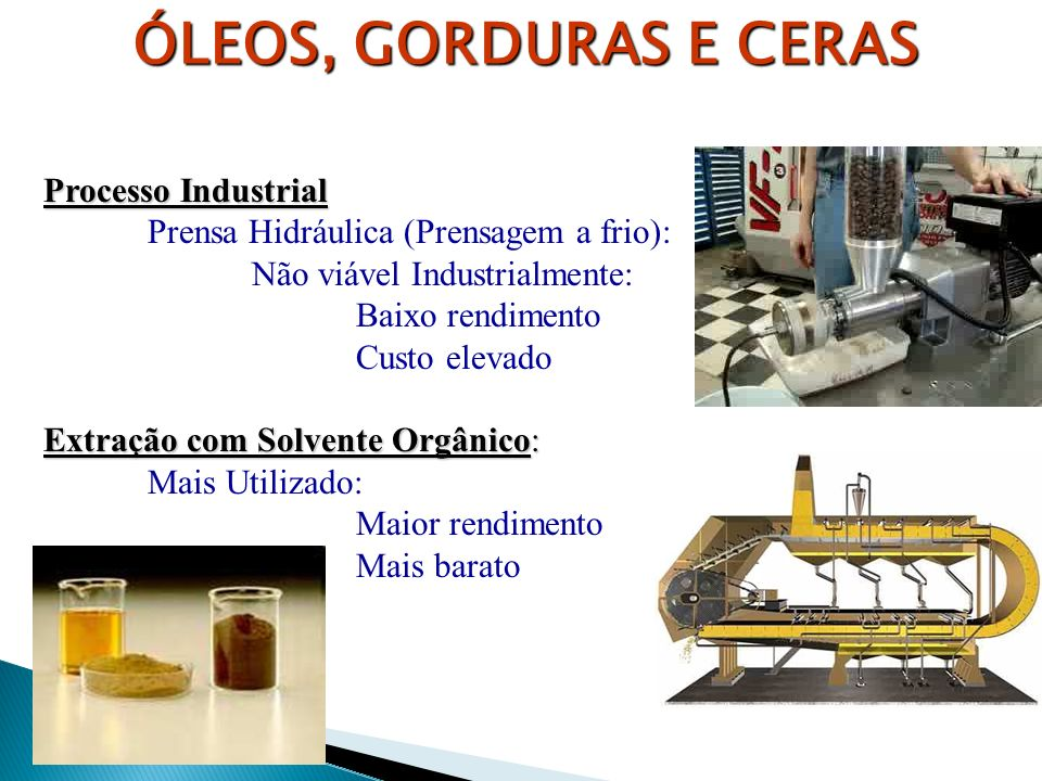 ÓLEOS, GORDURAS E CERAS Processo Industrial