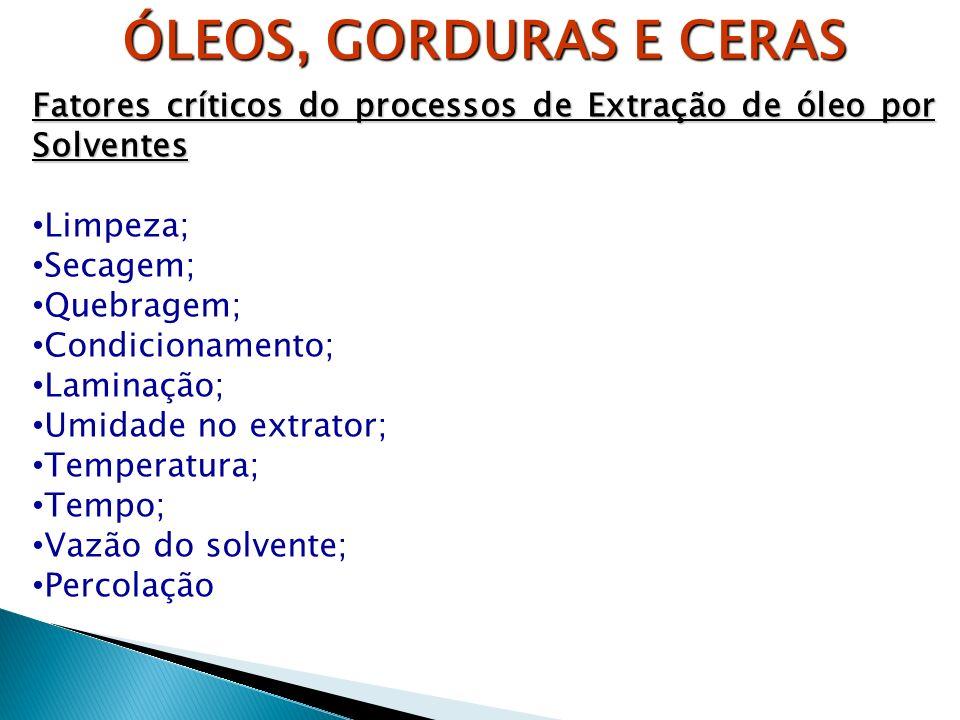 ÓLEOS, GORDURAS E CERAS Fatores críticos do processos de Extração de óleo por Solventes. Limpeza; Secagem;