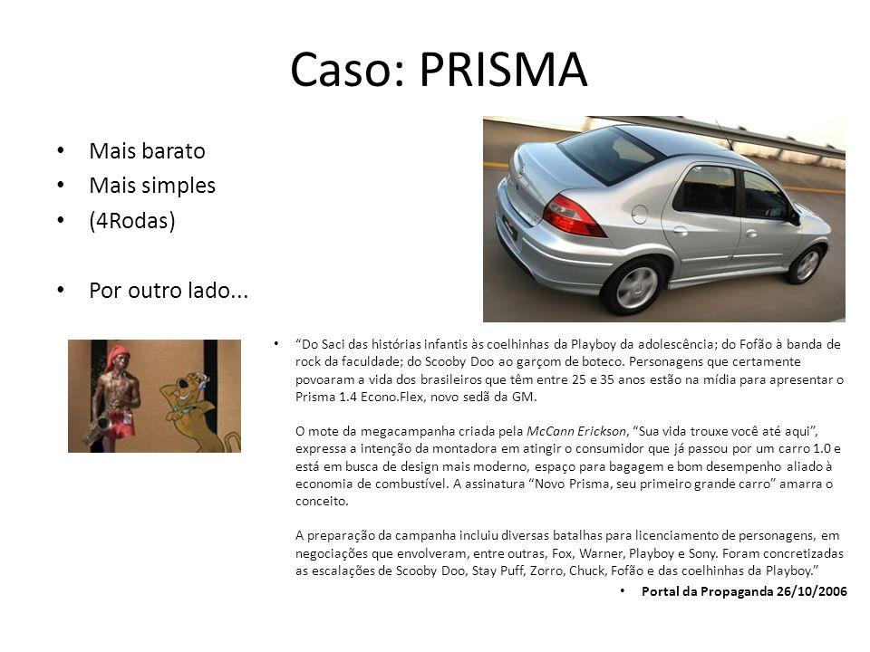Caso: PRISMA Mais barato Mais simples (4Rodas) Por outro lado...