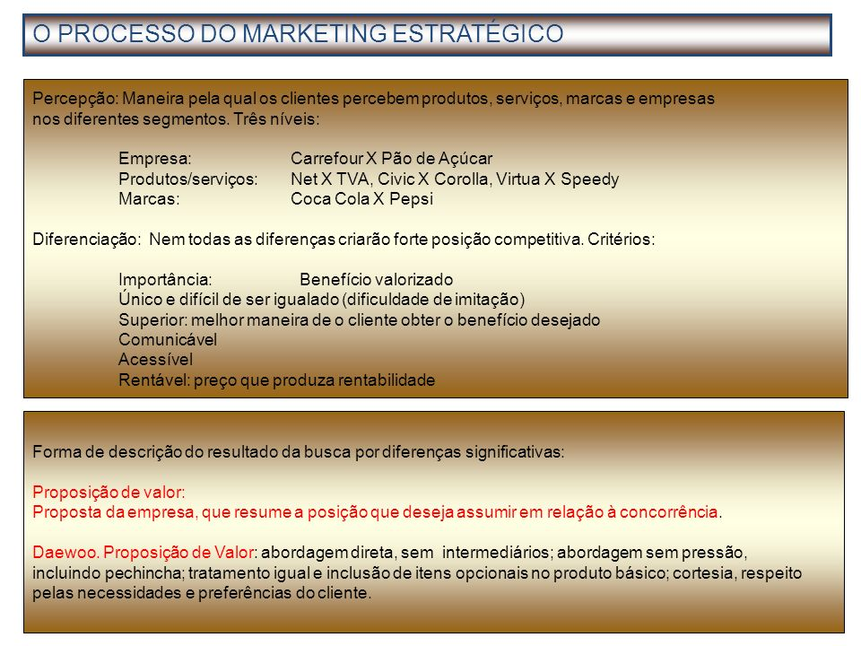 O PROCESSO DO MARKETING ESTRATÉGICO
