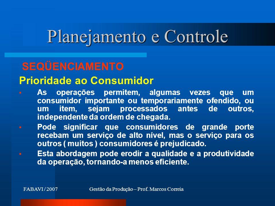 Planejamento e Controle