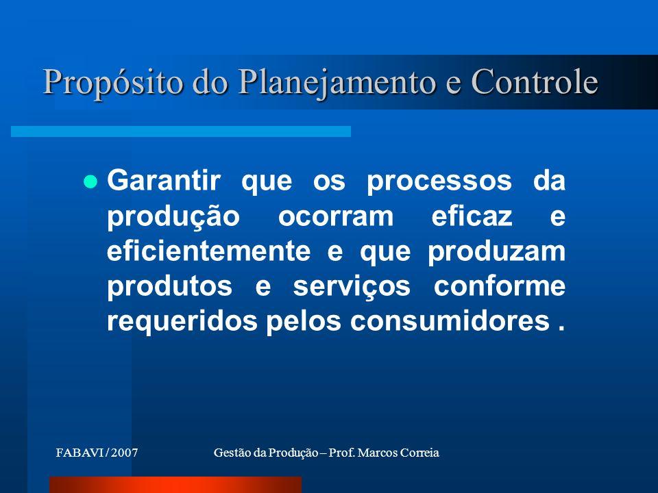 Propósito do Planejamento e Controle