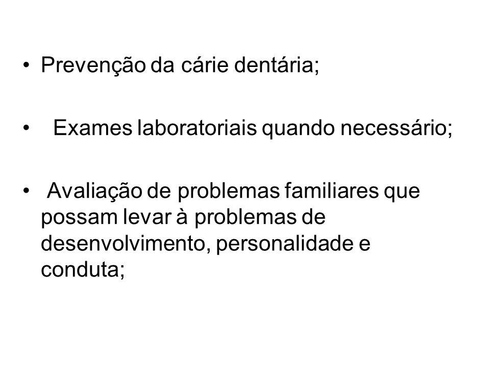 Prevenção da cárie dentária;