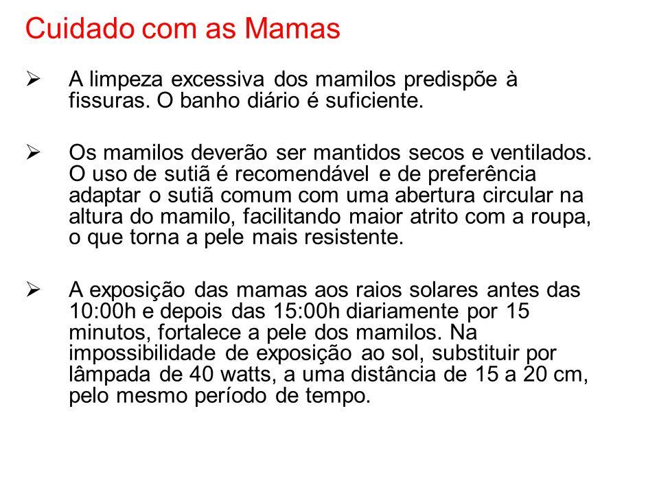 Cuidado com as Mamas A limpeza excessiva dos mamilos predispõe à fissuras. O banho diário é suficiente.