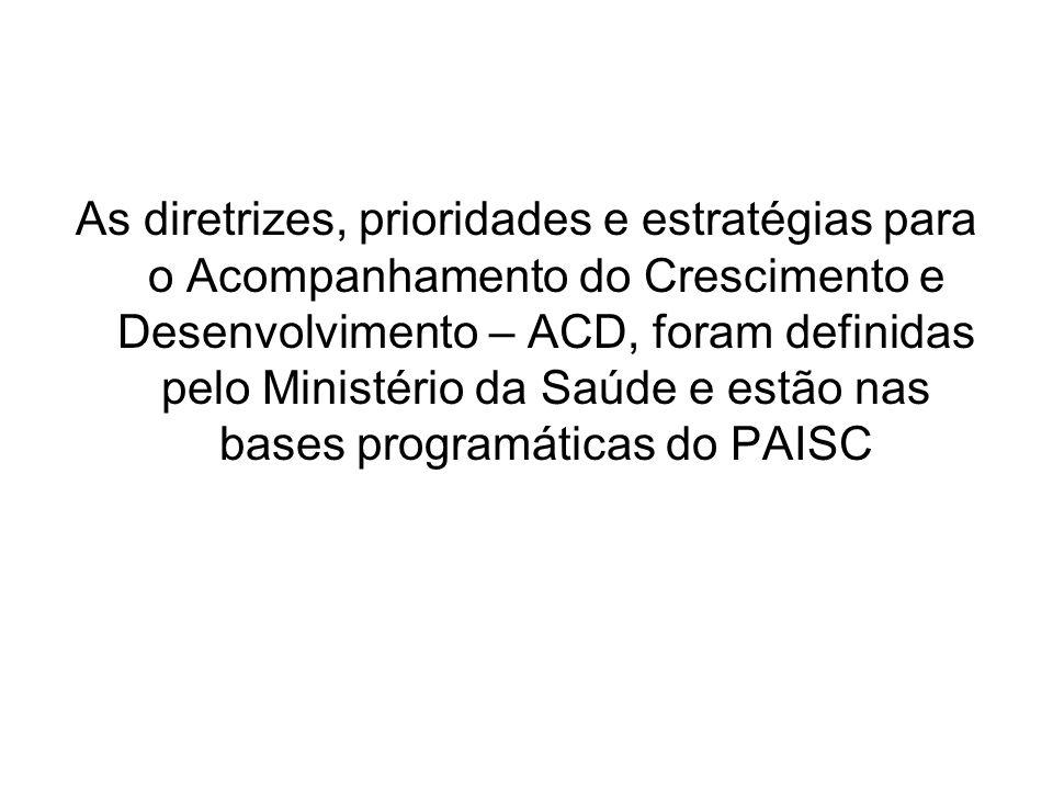 As diretrizes, prioridades e estratégias para o Acompanhamento do Crescimento e Desenvolvimento – ACD, foram definidas pelo Ministério da Saúde e estão nas bases programáticas do PAISC
