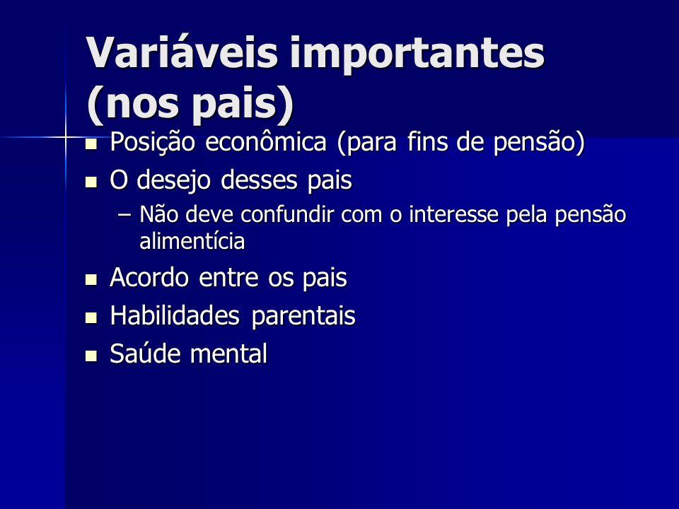 Variáveis importantes (nos pais)