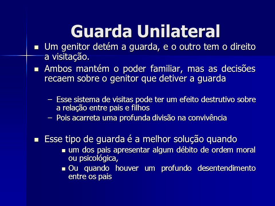 Guarda UnilateralUm genitor detém a guarda, e o outro tem o direito a visitação.