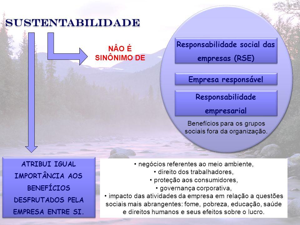 Sustentabilidade Responsabilidade social das empresas (RSE)