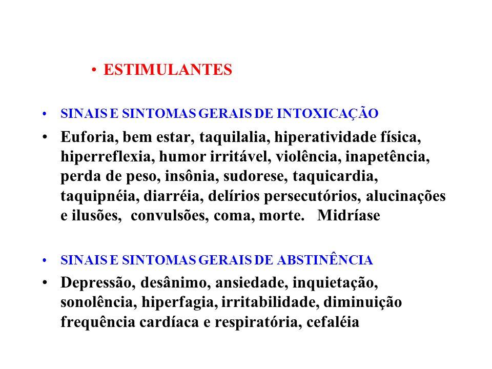 ESTIMULANTES SINAIS E SINTOMAS GERAIS DE INTOXICAÇÃO.