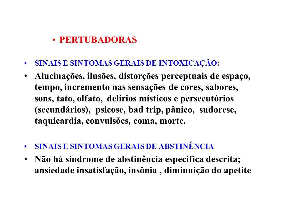 PERTUBADORAS SINAIS E SINTOMAS GERAIS DE INTOXICAÇÃO:
