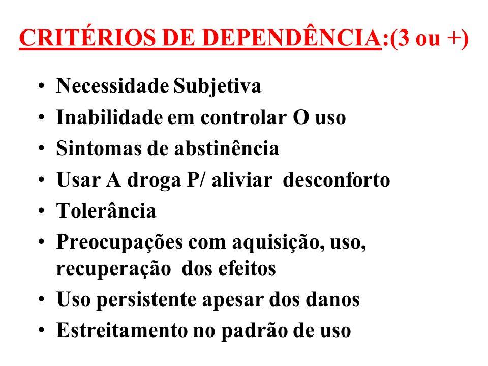 CRITÉRIOS DE DEPENDÊNCIA:(3 ou +)