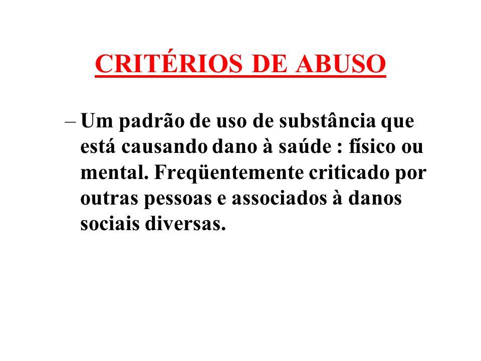 CRITÉRIOS DE ABUSO