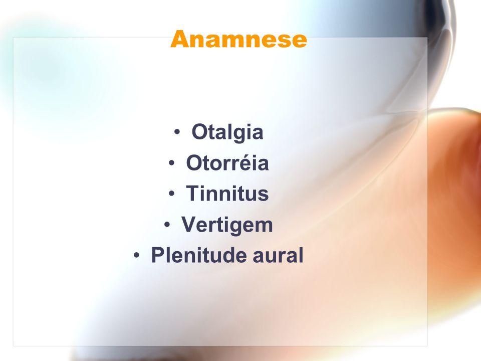 Anamnese Otalgia Otorréia Tinnitus Vertigem Plenitude aural
