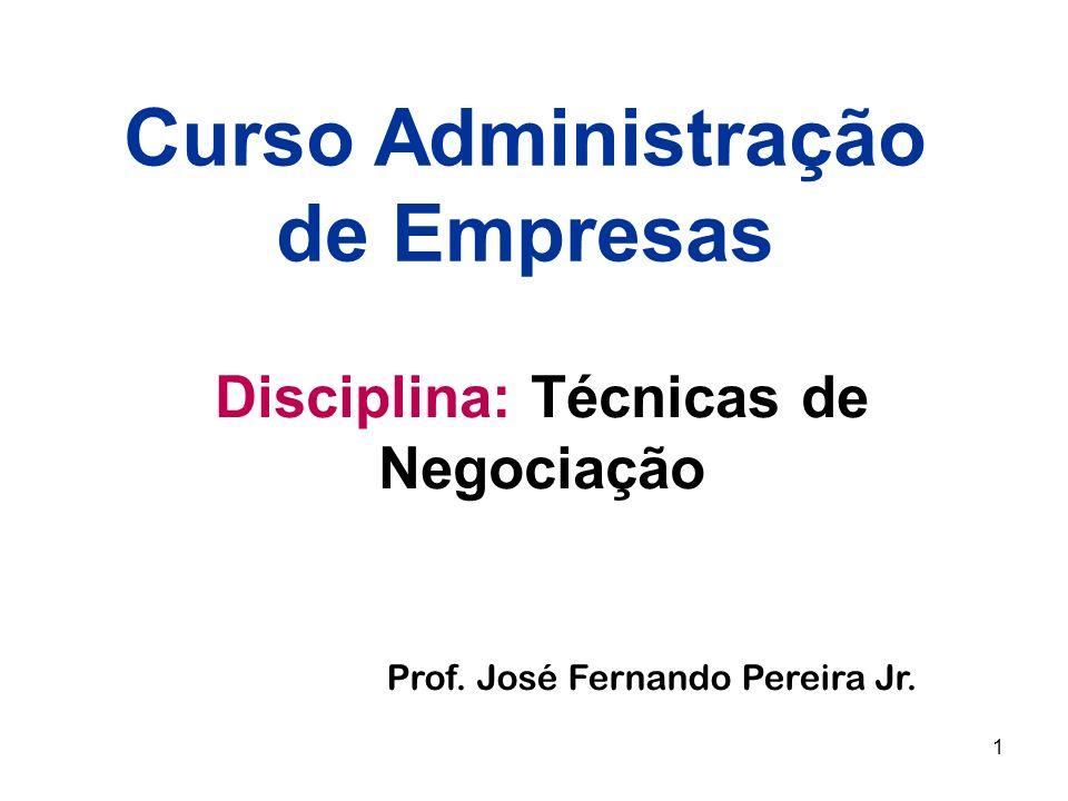 Curso Administração de Empresas Disciplina: Técnicas de Negociação