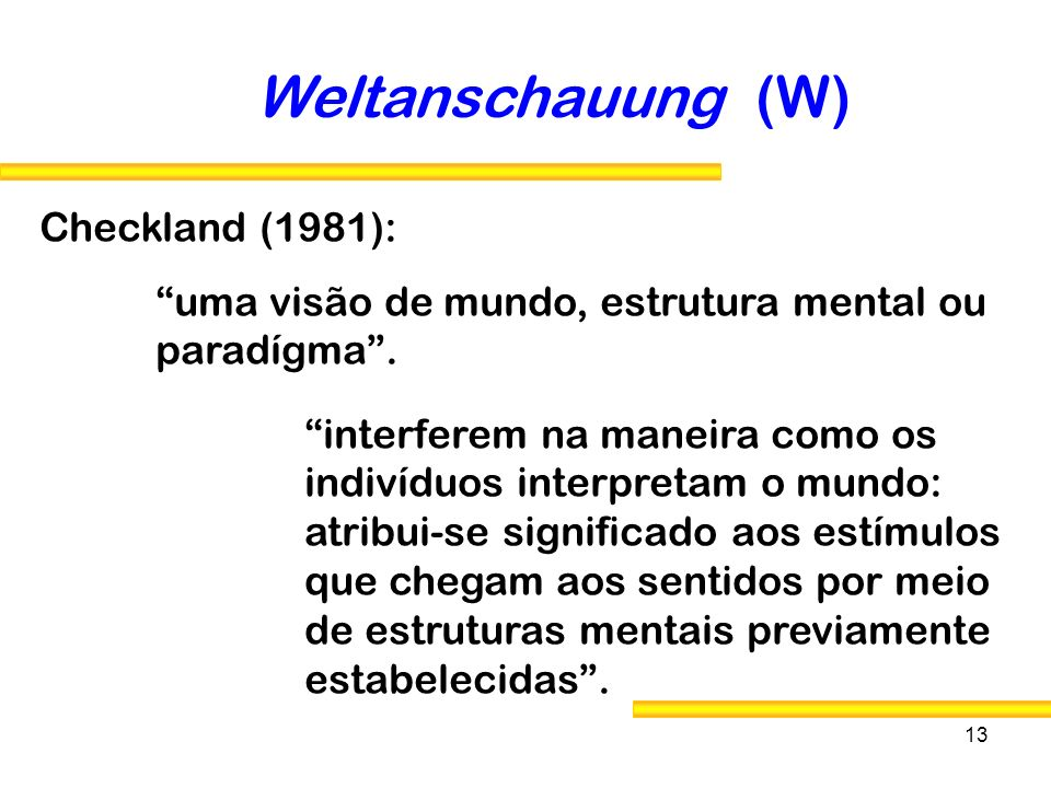 Weltanschauung (W) Checkland (1981):