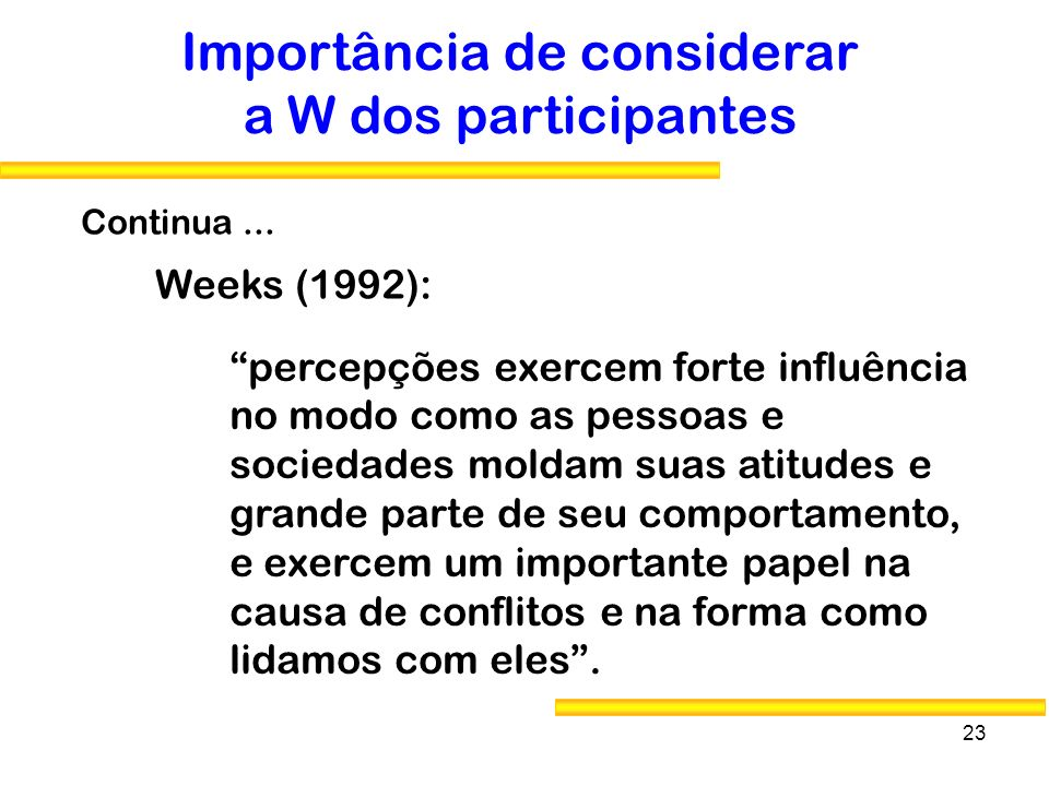 Importância de considerar a W dos participantes