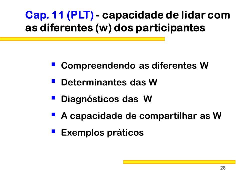 Cap. 11 (PLT) - capacidade de lidar com as diferentes (w) dos participantes
