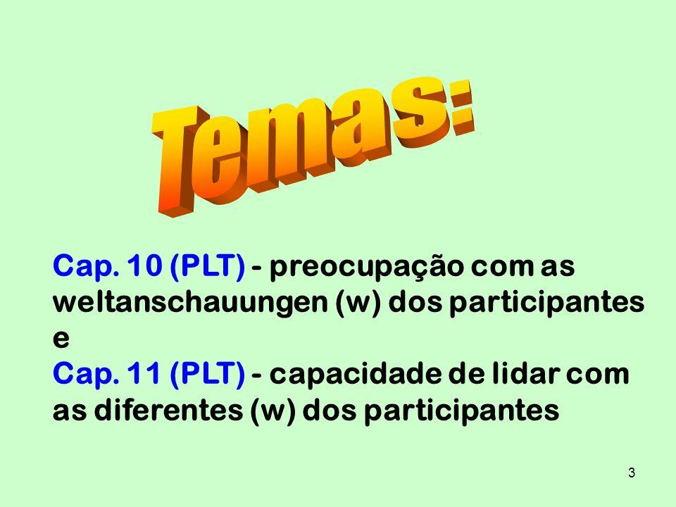 Temas: Cap. 10 (PLT) - preocupação com as weltanschauungen (w) dos participantes e.