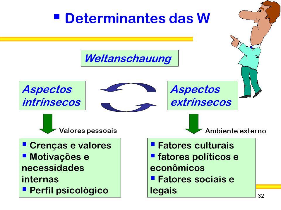 Determinantes das W Weltanschauung Aspectos intrínsecos