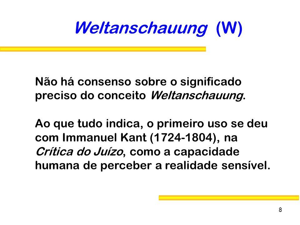 Weltanschauung (W) Não há consenso sobre o significado preciso do conceito Weltanschauung.