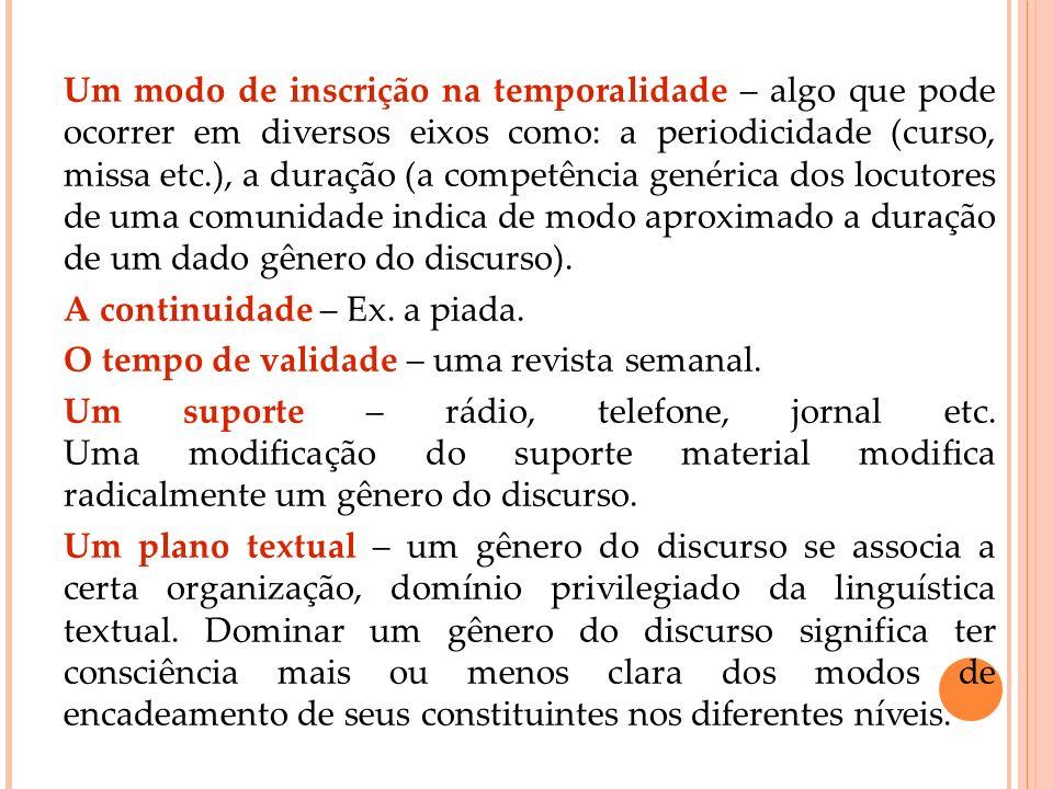 Um modo de inscrição na temporalidade – algo que pode ocorrer em diversos eixos como: a periodicidade (curso, missa etc.), a duração (a competência genérica dos locutores de uma comunidade indica de modo aproximado a duração de um dado gênero do discurso).