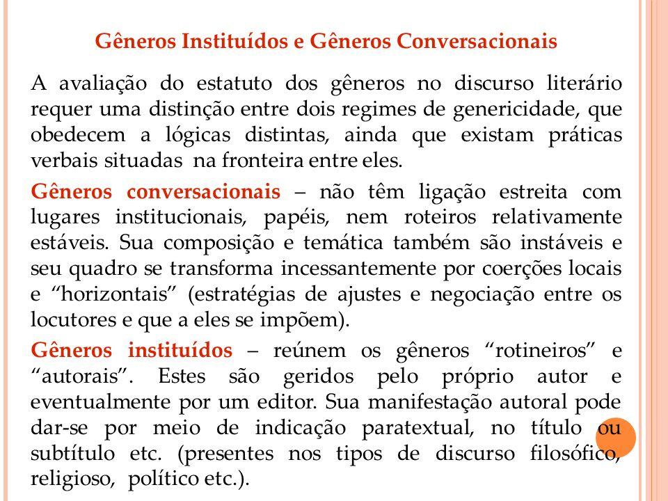 Gêneros Instituídos e Gêneros Conversacionais