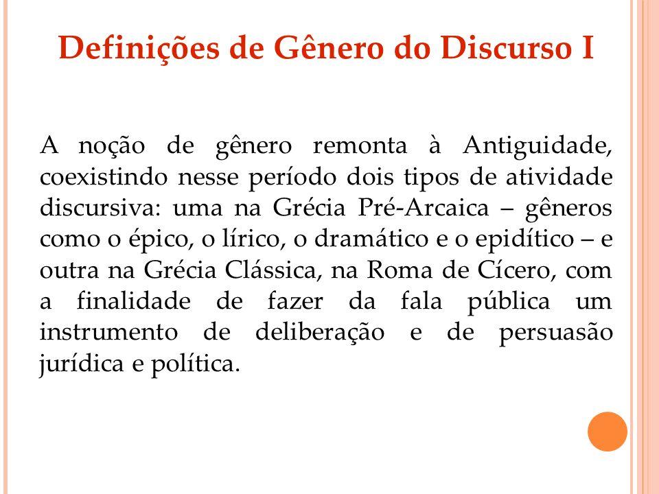 Definições de Gênero do Discurso I