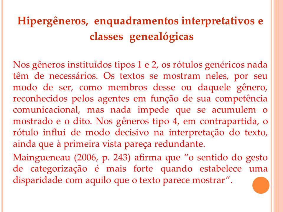 Hipergêneros, enquadramentos interpretativos e