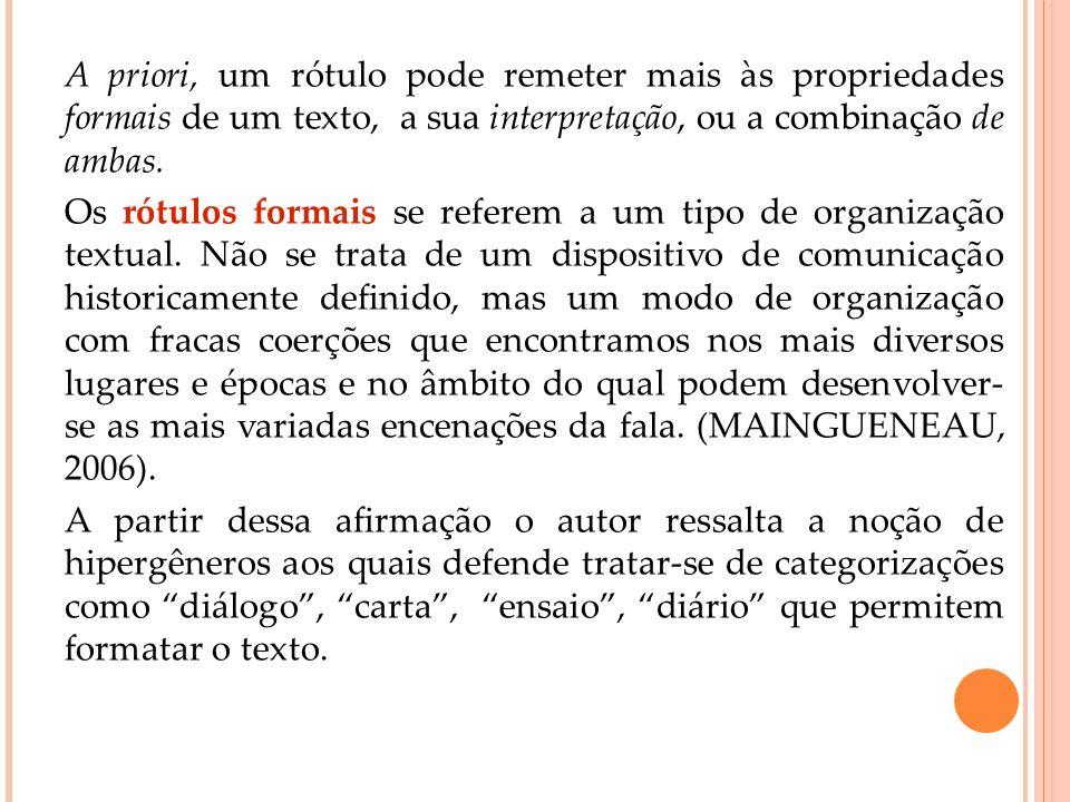 A priori, um rótulo pode remeter mais às propriedades formais de um texto, a sua interpretação, ou a combinação de ambas.