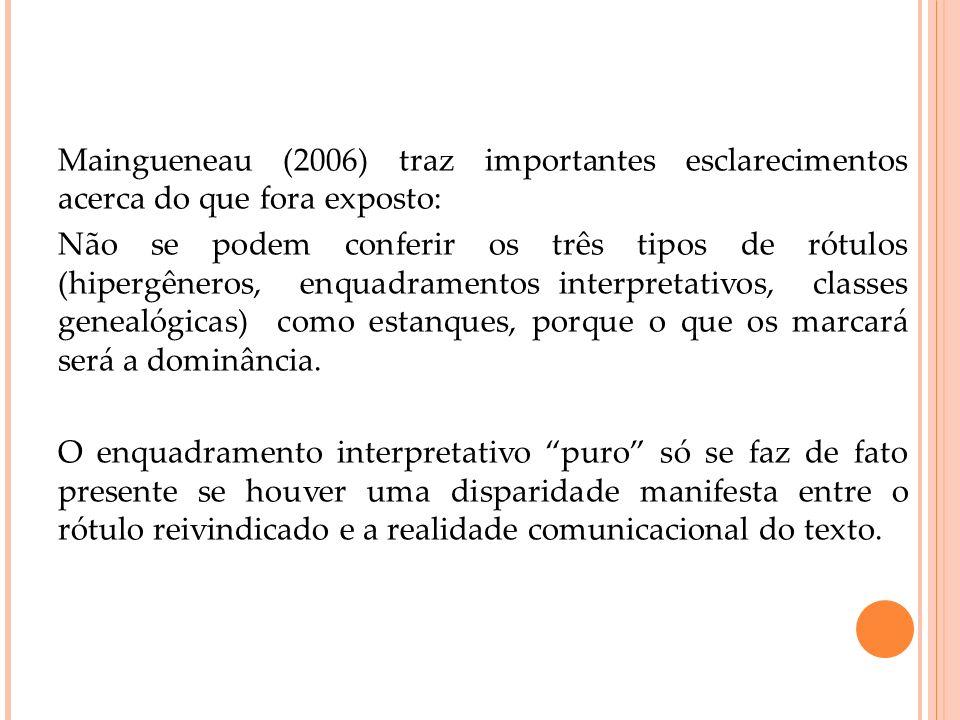 Maingueneau (2006) traz importantes esclarecimentos acerca do que fora exposto: