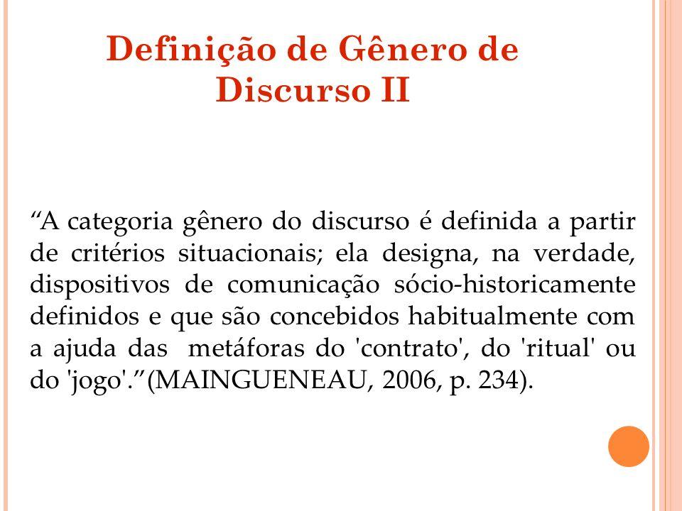 Definição de Gênero de Discurso II
