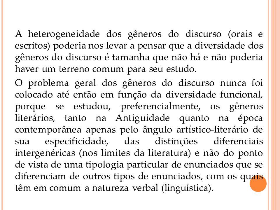 A heterogeneidade dos gêneros do discurso (orais e escritos) poderia nos levar a pensar que a diversidade dos gêneros do discurso é tamanha que não há e não poderia haver um terreno comum para seu estudo.