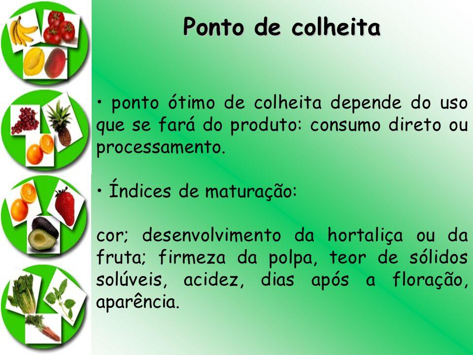 Ponto de colheita • ponto ótimo de colheita depende do uso que se fará do produto: consumo direto ou processamento.