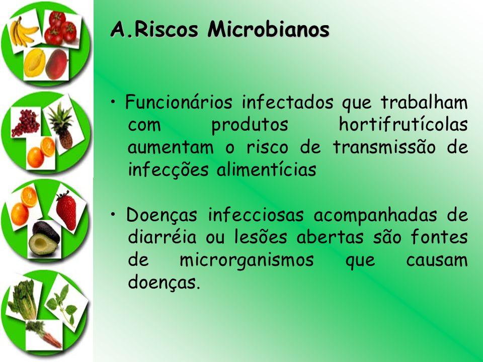 Riscos Microbianos • Funcionários infectados que trabalham com produtos hortifrutícolas aumentam o risco de transmissão de infecções alimentícias.