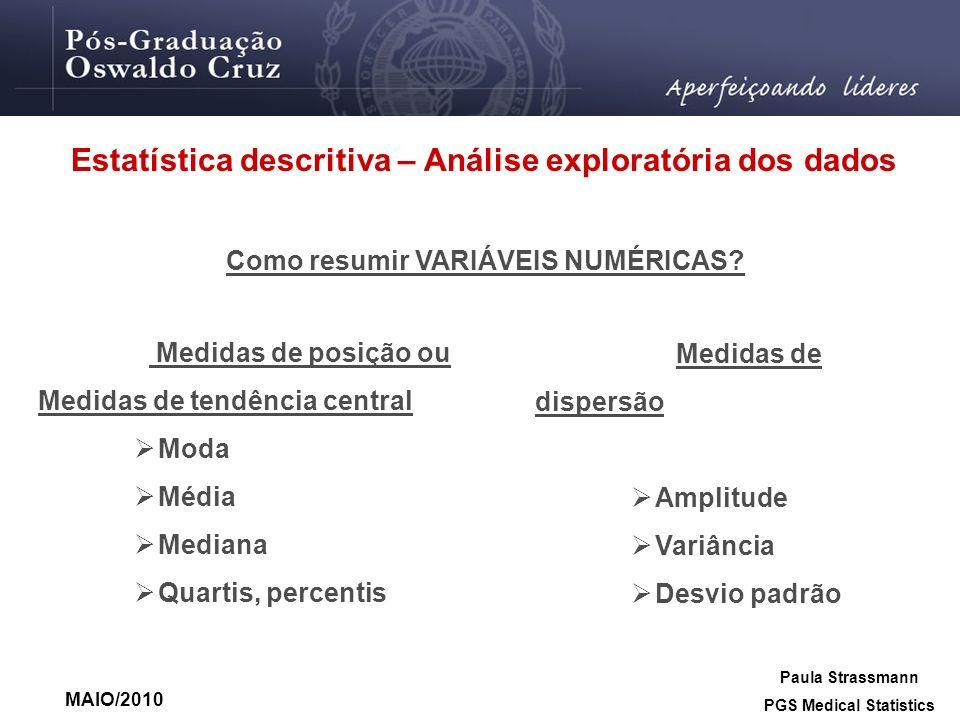 Estatística descritiva – Análise exploratória dos dados