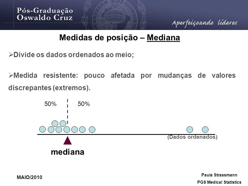 Medidas de posição – Mediana PGS Medical Statistics