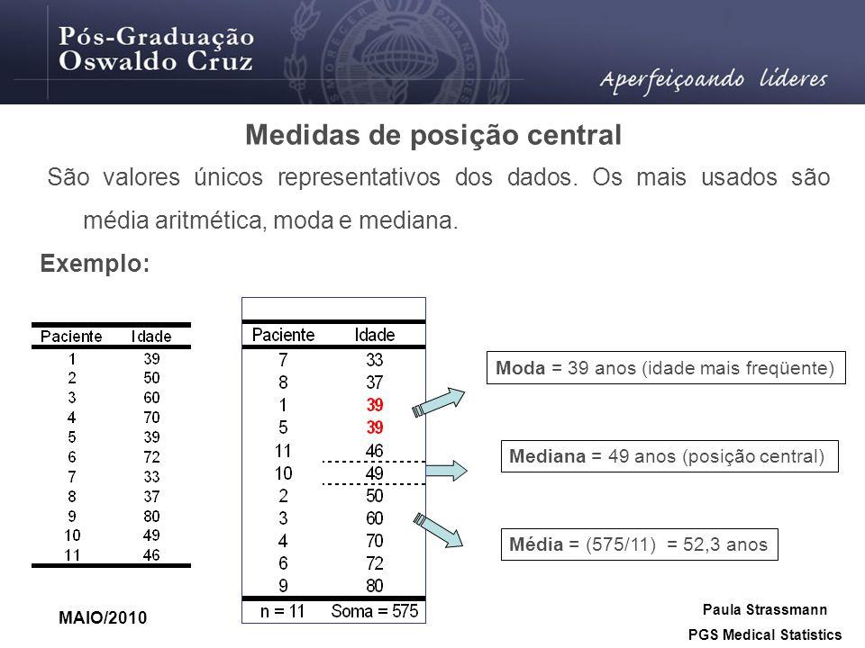 Medidas de posição central PGS Medical Statistics